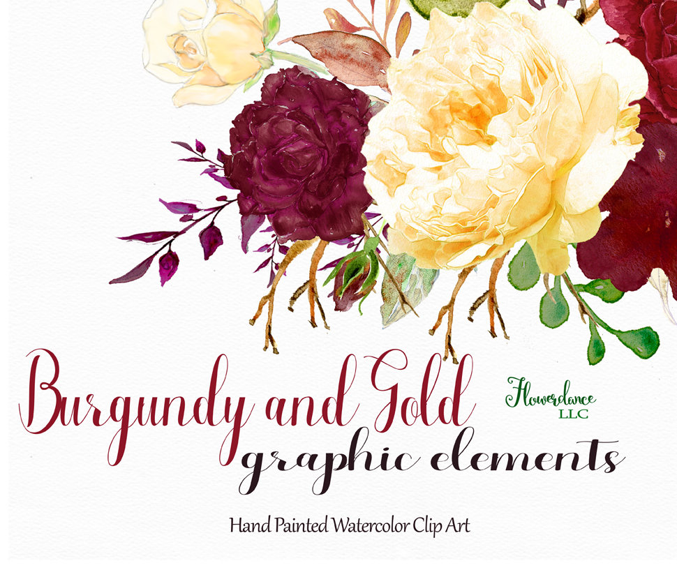 Yellow Rose clipart gold element Burgundy is clipart burgundy and