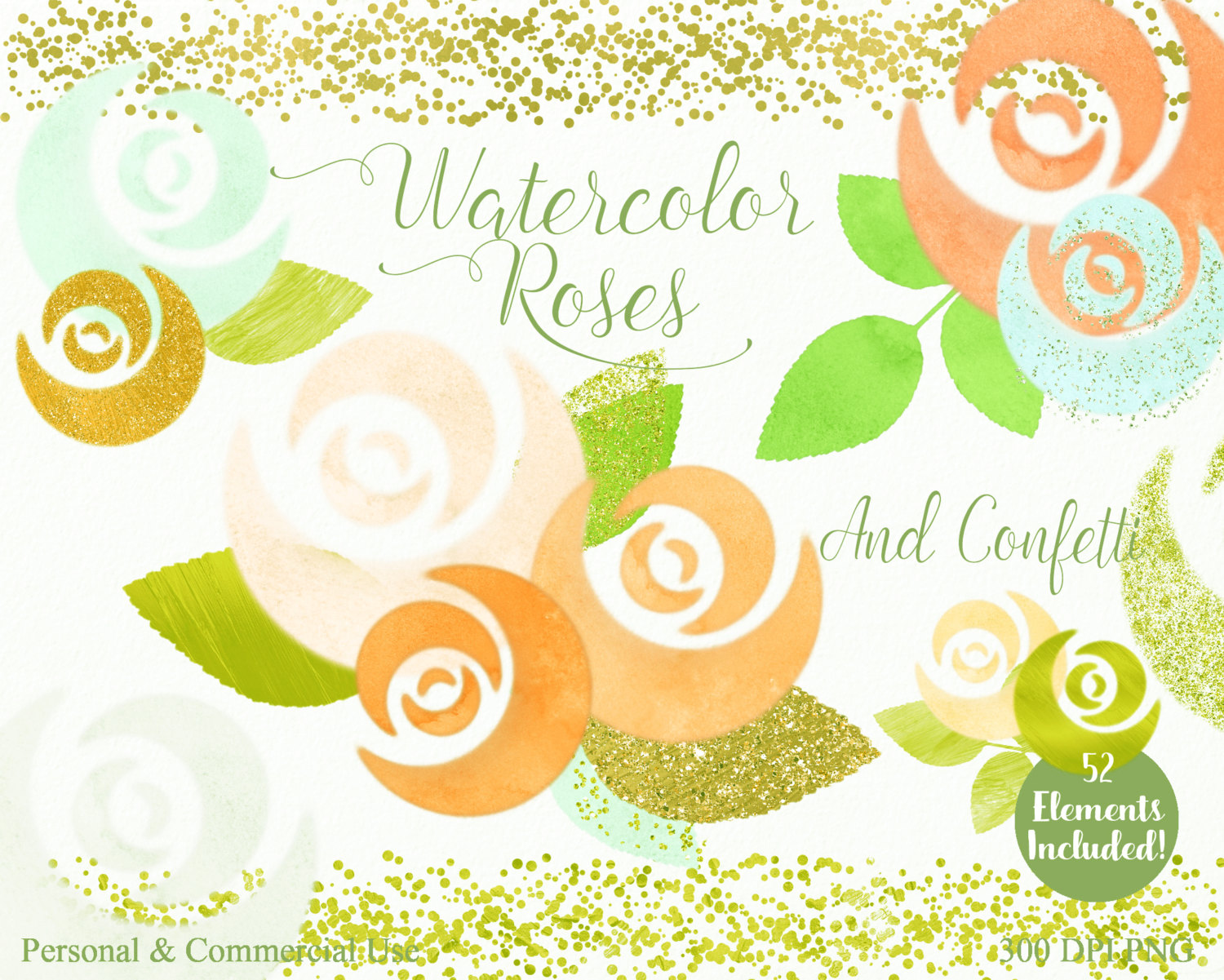 Yellow Rose clipart gold element Use WATERCOLOR Floral Coral