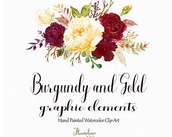 Yellow Rose clipart gold element Burgundy and and gold flower
