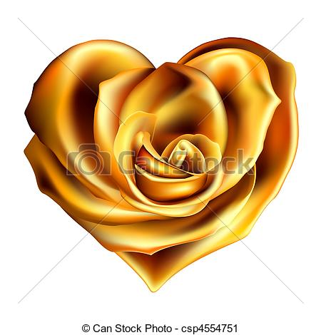 Yellow Rose clipart gold heart Of  rose Illustration heart