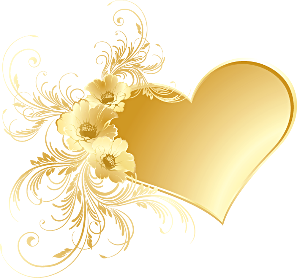 Yellow Rose clipart gold heart Gold  LOVE Heart HEARTS