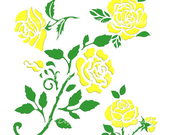 Yellow Rose clipart green rose Etsy Wedding Instant Clipart rose