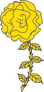 Yellow Rose clipart long stem #10