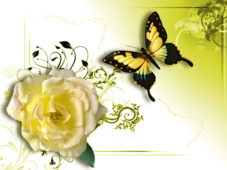 Yellow Rose clipart love flower Butterfly F2 Background & F2