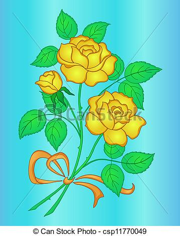 Yellow Rose clipart love flower Csp11770049 Drawing  bouquet Flowers