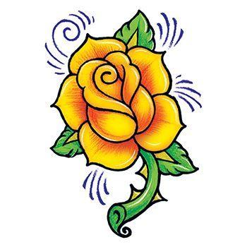 Yellow Rose clipart orange rose Temporary Rose  Tattoo Vintage