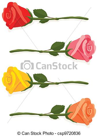 Yellow Rose clipart orange rose Red and Illustrated Art