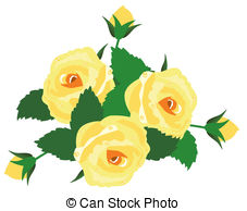 Yellow Rose clipart vector Illustration roses yellow Vector green