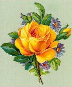 Yellow Flower clipart retro flower Art:  Roses Clip Flowers