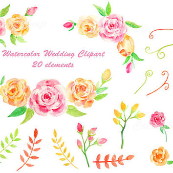 Yellow Rose clipart wedding On wedding Watercolor clipart leaf
