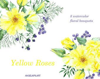 Yellow Rose clipart wedding Watercolor Roses:  Yellow 8Watercolor