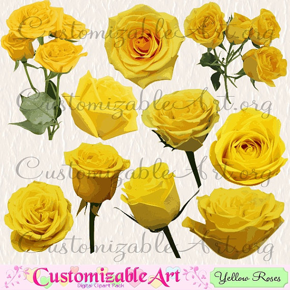 Yellow Flower clipart single flower Stem Clipart Roses Clip Yellow