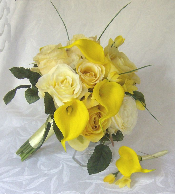 Yellow Rose clipart yellow bouquet Calla Pinterest real touch weddings