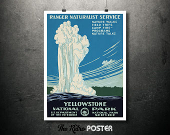 Yellowstone clipart naturalist Naturalist Travel Poster Travel Vintage