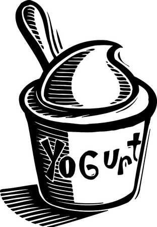 Yogurt clipart black and white Images and of black illustration