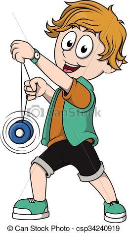 Yoyo clipart kid Csp34240919 Search Vector  csp34240919