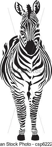 Zebra clipart front view Vector black of zero Zebra