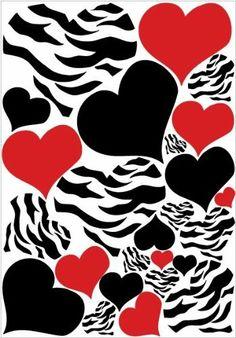 Zebra clipart hearts Print Heart Wall Zebra and