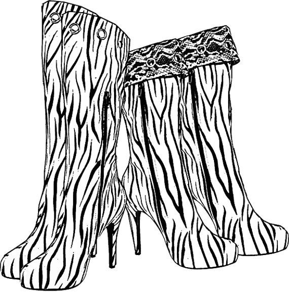 Zebra clipart high heel Art shoe fashion coloring page