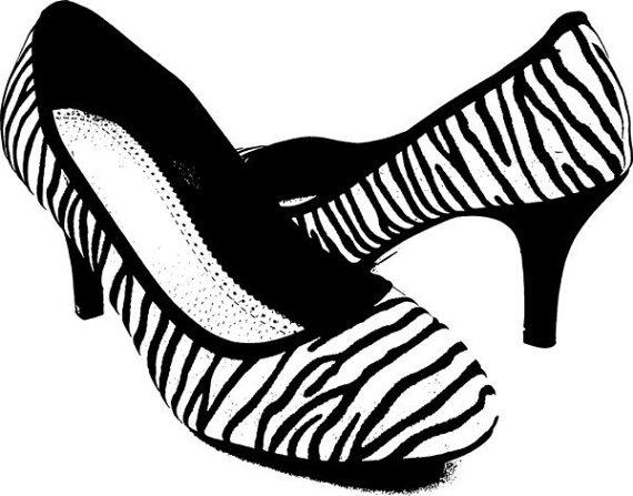 Zebra clipart high heel Digital high graphics heel shoe
