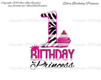 Zebra clipart number 1 Princess Transfer Digital Number Zebra