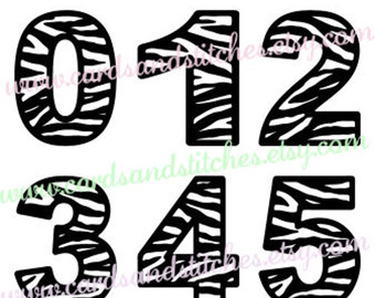 Zebra clipart number 1 Design Digital number Etsy Vector
