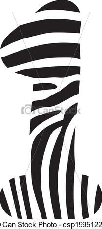 Zebra clipart number 1 Zebra Vector made up number