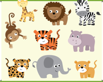 Zebra clipart nursery Baby lion cheetah Jungle giraffe