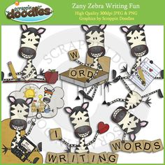 Zebra clipart stripes Zany Zebra Fonts Zany Art