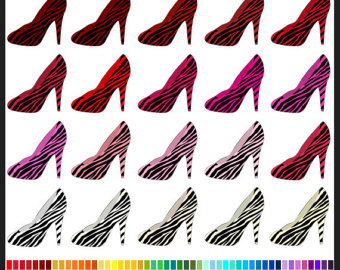 Zebra clipart shoe Ladies Commercial Use Woman Colors