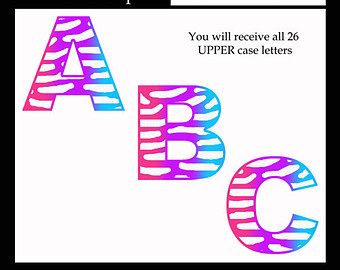 Zebra clipart teacher Design Alphabet Etsy ZEBRA Animal