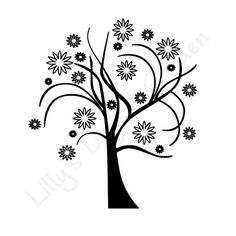 Zen clipart black and white Flower Tree ClipArt Clipart Wish