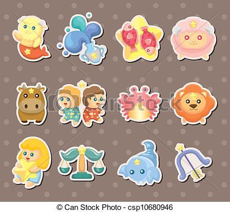Zodiac clipart cute Cute zodiac stickers Vector Clip
