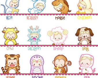 Zodiac clipart cute Digital Etsy Commercial Cute Kids
