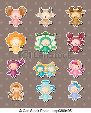 Zodiac clipart cute Set zodiac stickers  symbols