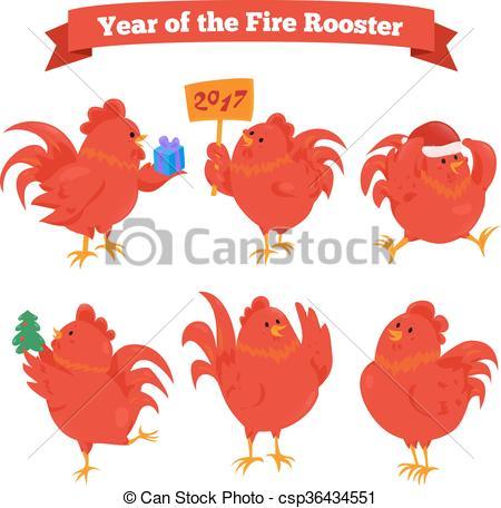 Zodiac clipart fire Cartoon rooster zodiac chinese fire