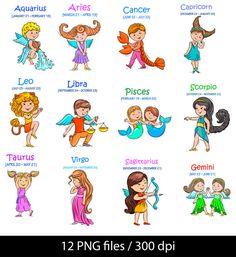 Zodiac clipart horiscope ><B><A Baby Teddy mermaids Zodiac
