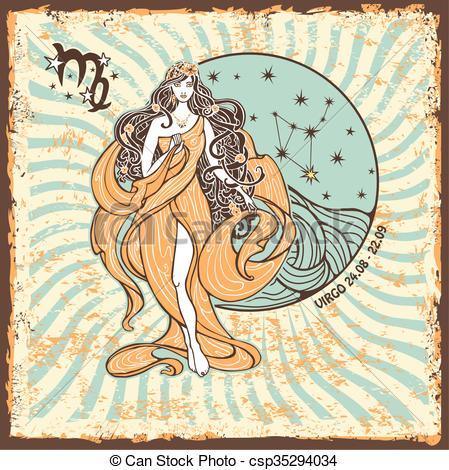 Zodiac clipart vintage Vintage card Virgo Vintage Horoscope