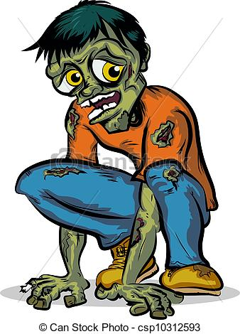 Zombie clipart cartoon character EPS Character for of Awesome