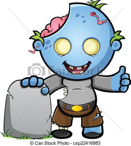 Zombie clipart cute & Blue Zombie Gravestone Up