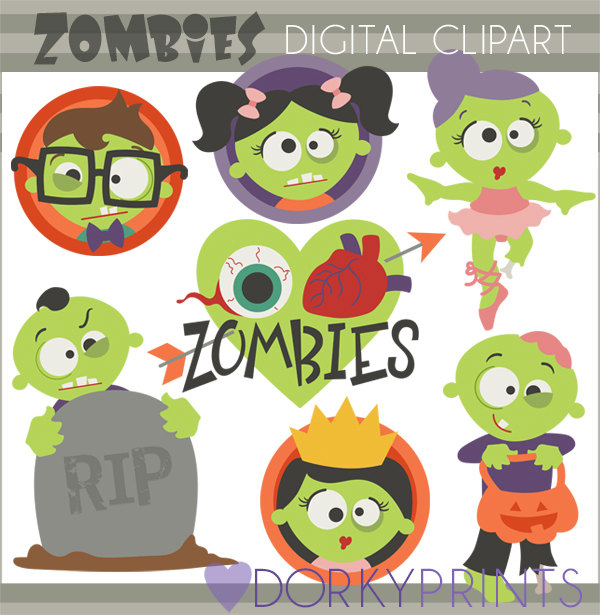Zombie clipart cartoon Commercial Studio Clipart and Limited