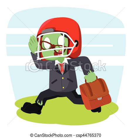 Zombie clipart football Vector businessman Illustration with football