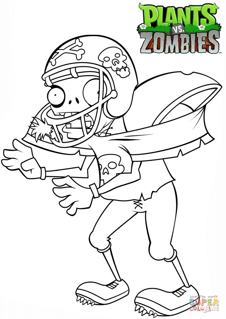 Zombie clipart football Zombies Printable coloring vs page