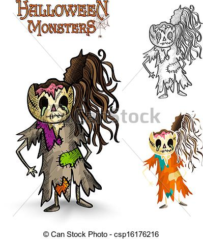 Zombie clipart halloween monster Zombie EPS10 rotten monsters Halloween