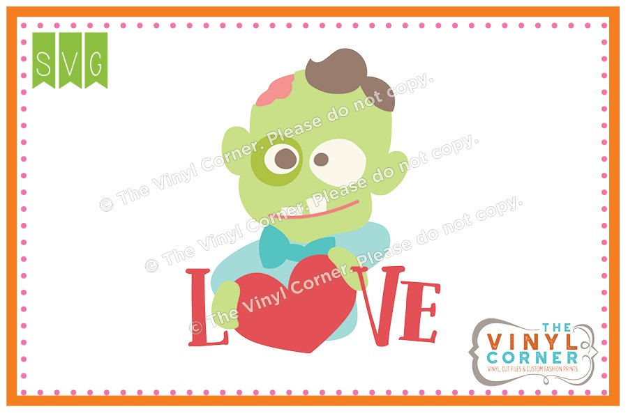 Zombie clipart not Zombie Love SVG Applique Love