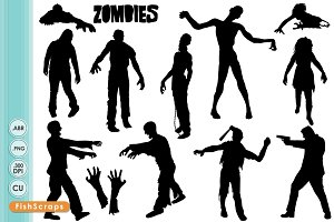 Zombie clipart shadow On Silhouettes Zombie ~ Set
