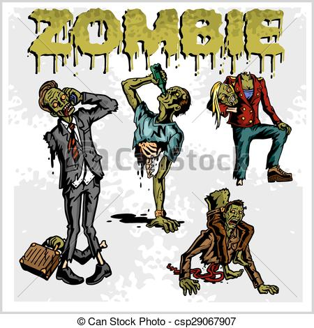 Zombie clipart vector #5