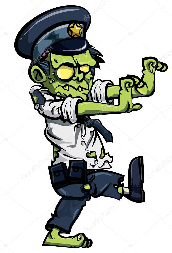 Zombie clipart vector Vector — by zombie policeman