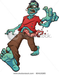 Zombie clipart walking Intestines with Walking Blue Zombie