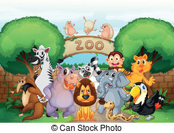 Zoo clipart  and animals in vector